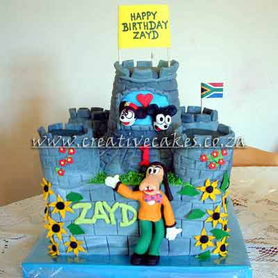 Disney Castle Cake - Disney Castle Cake with Disney Characters
