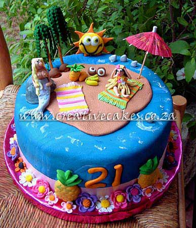Sculptured Beach Girls Cake was made Personalised for a Adults Birthday Party