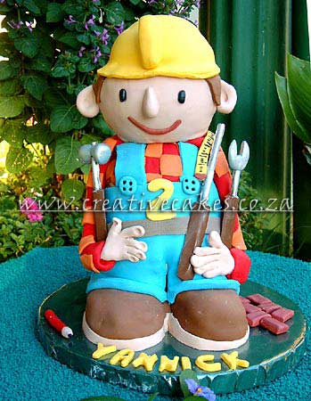 Sculptured 3D Bob the Builder Cake designed for a Kids Birthday Party