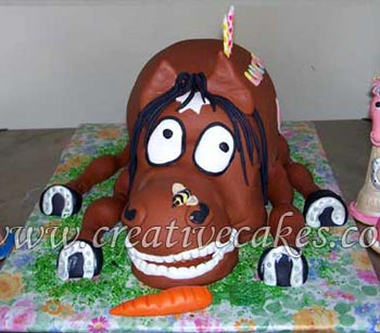horse cake with accessories
