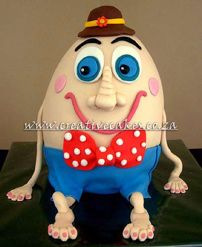 Sculptured 3D Humpty Dumpty Cake taken for the Nursery Rhyme and Created into a Stand-up Cake